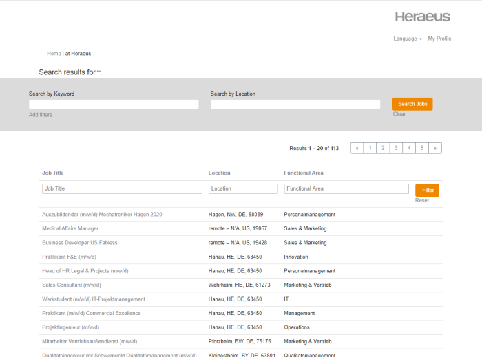 Search results at Heraeus career portal.