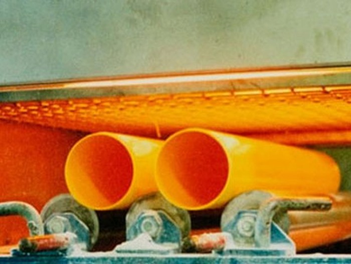 Infrared heat shapes plastic pipes more efficiently.