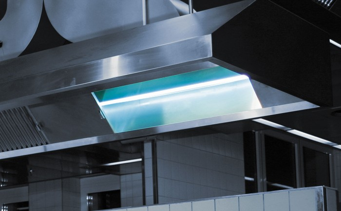 Kitchen exhaust air cleaning with UV