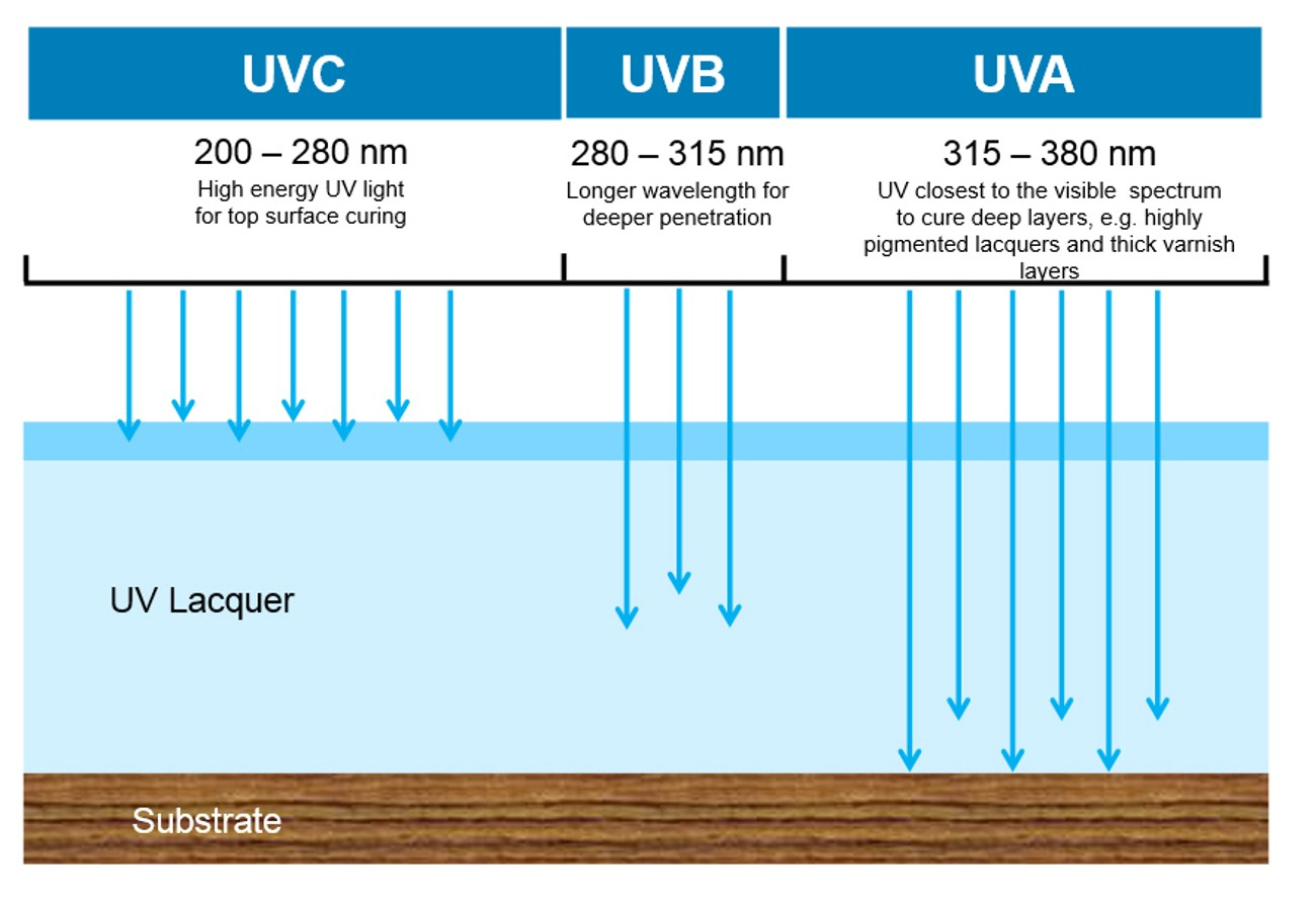 Curing properties of UVA, UVB and UVC radiation