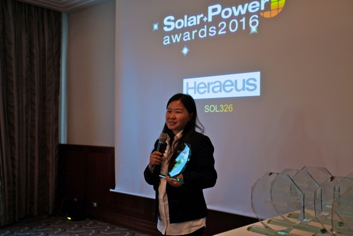 Solar and Power Awards 2016 - Heraeus' winning product, the SOL326 Series, is a low-activity PERC back-side silver tabbing paste for mono- and multicrystalline solar cell wafers.