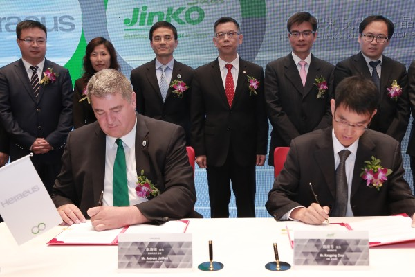 Heraeus Photovoltaics and JinkoSolar sign strategic partnership to develop new generations of super PV cells.